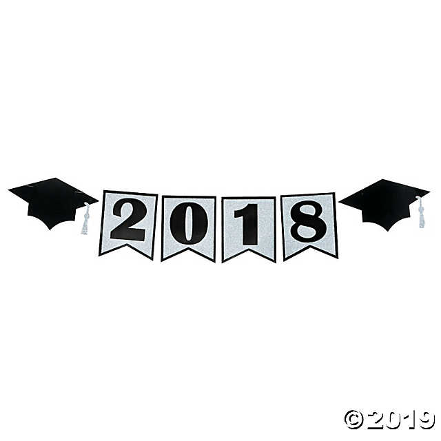 Class of 2018 Glitter Pennant Banner.