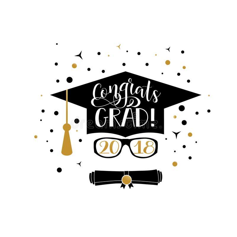 Congrats Grad 2018 Lettering. Congratulations Graduate Banner. Stock.