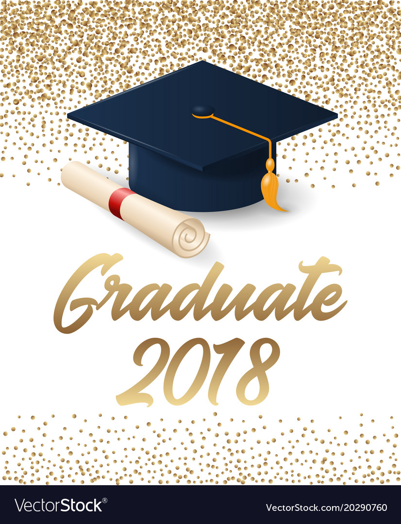Class of 2018 graduation poster with hat and.
