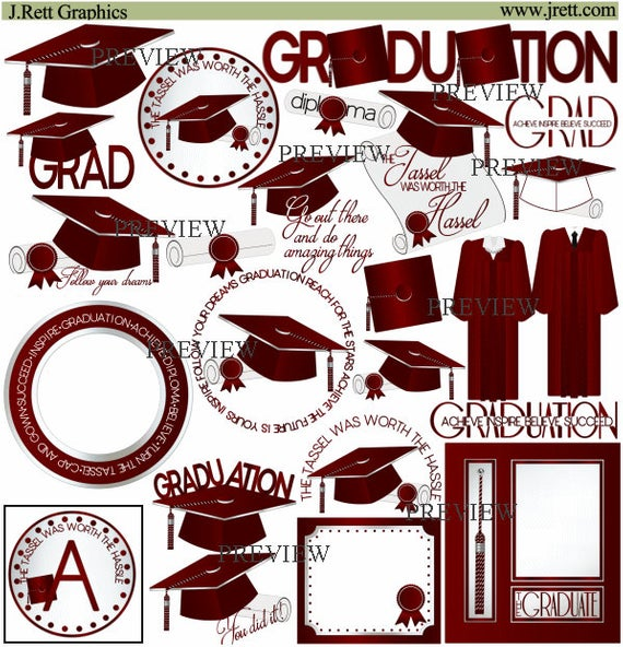 Maroon Graduation clipart, MORE COLORS, class of 2018 clip art, graduation  cap and gown graphics, diploma clipart, graduate, tassel designs.