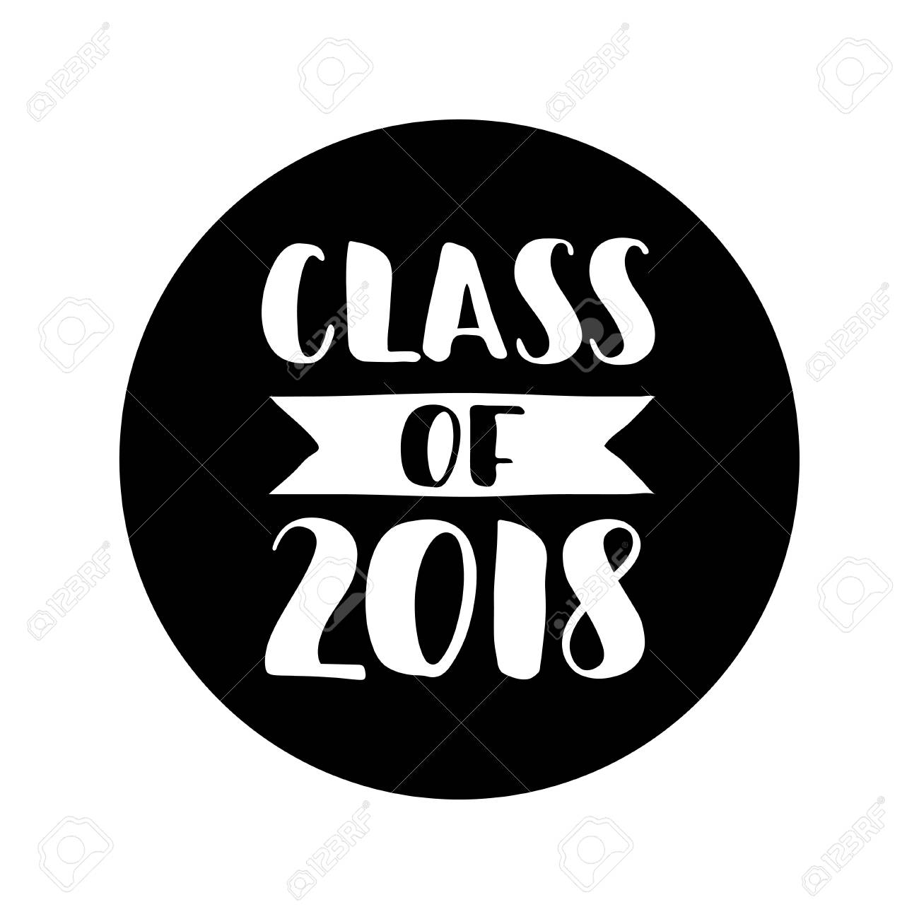 Class of 2018. Hand drawn lettering Graduation label. Vector element.