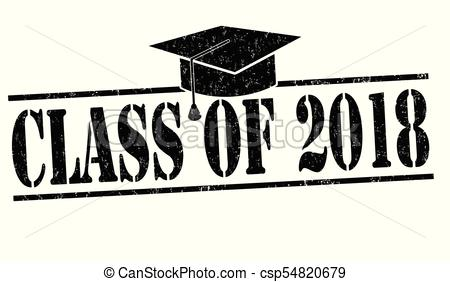 Class of 2018 white sign illustration design Clipart and Stock.