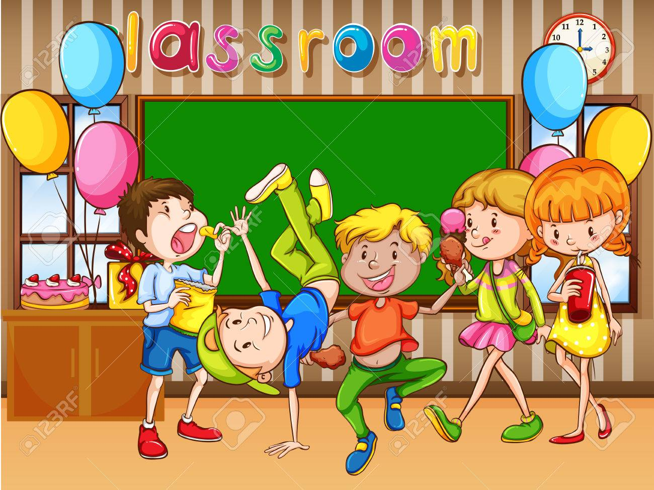 Classroom scene with kids having party illustration.