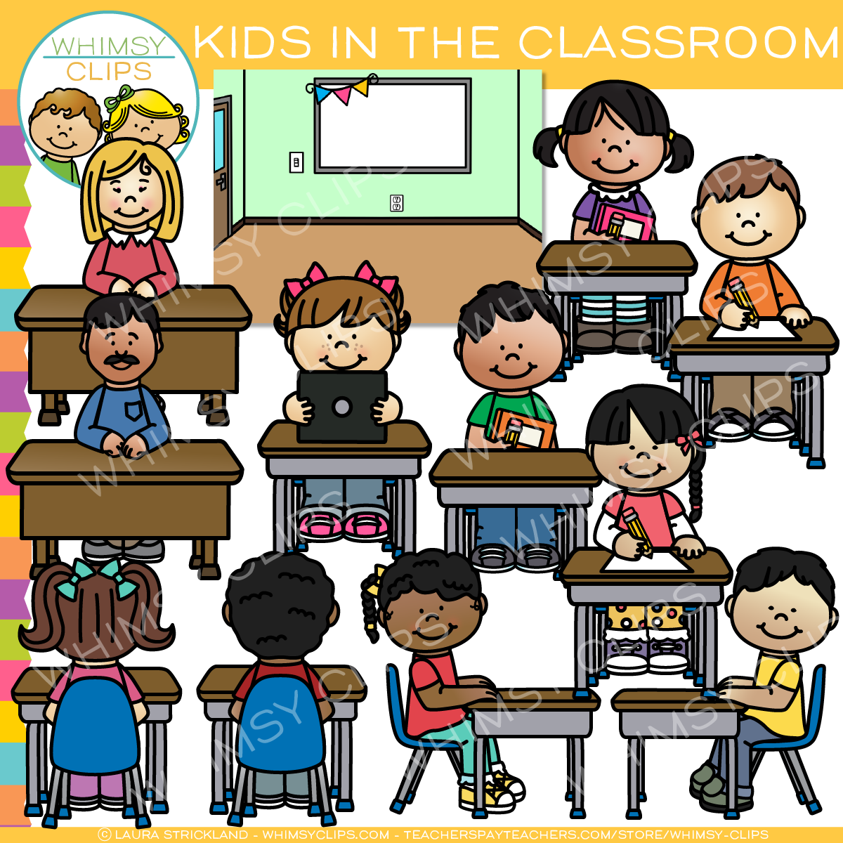 Kids in the Classroom Clip Art.