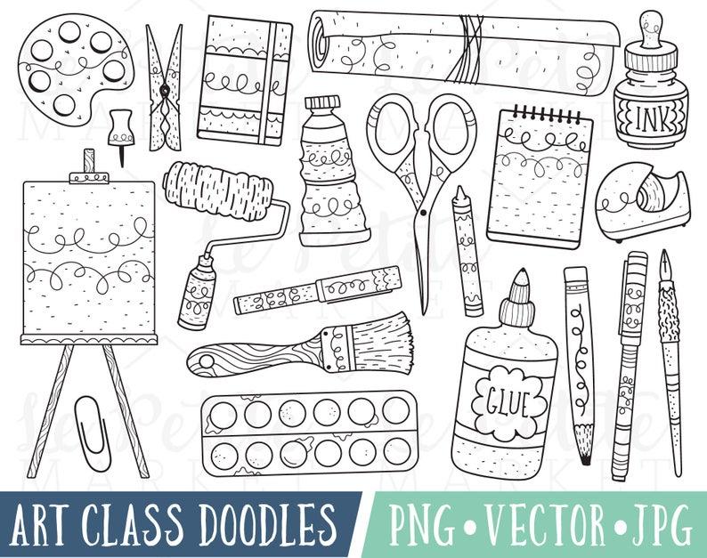 Art Class Doodles Clipart Images, Art Doodle Clipart, Painting Clipart,  Clipart for Teachers, School Clipart Digital Stamps, Classroom PNG.