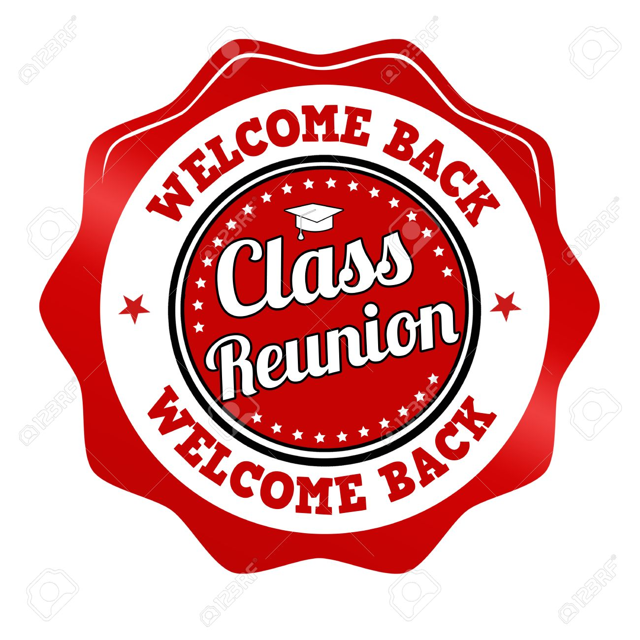 Red promotional sticker, icon,stamp or label for Class Reunion...