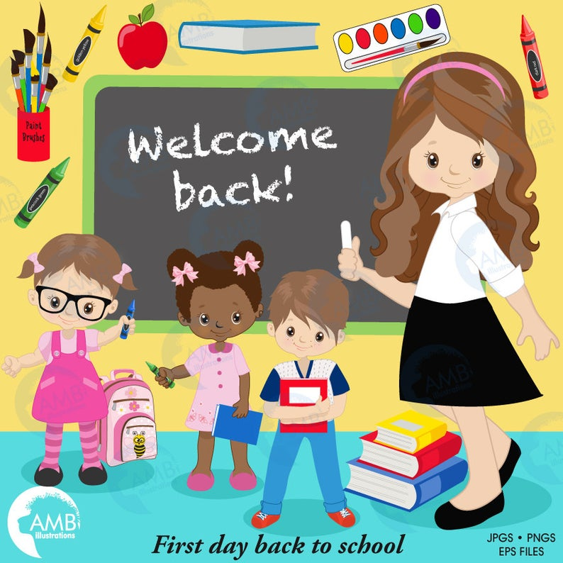 Back to school Clipart, classroom clipart, teacher clipart, student  clipart, books, crayons, commercial use, AMB.