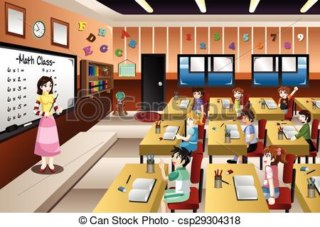 Teacher teaching in classroom clipart.