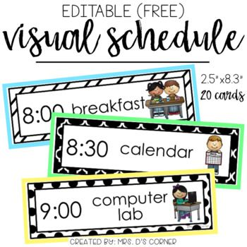 FREE * Use this editable visual schedule to create individual or.