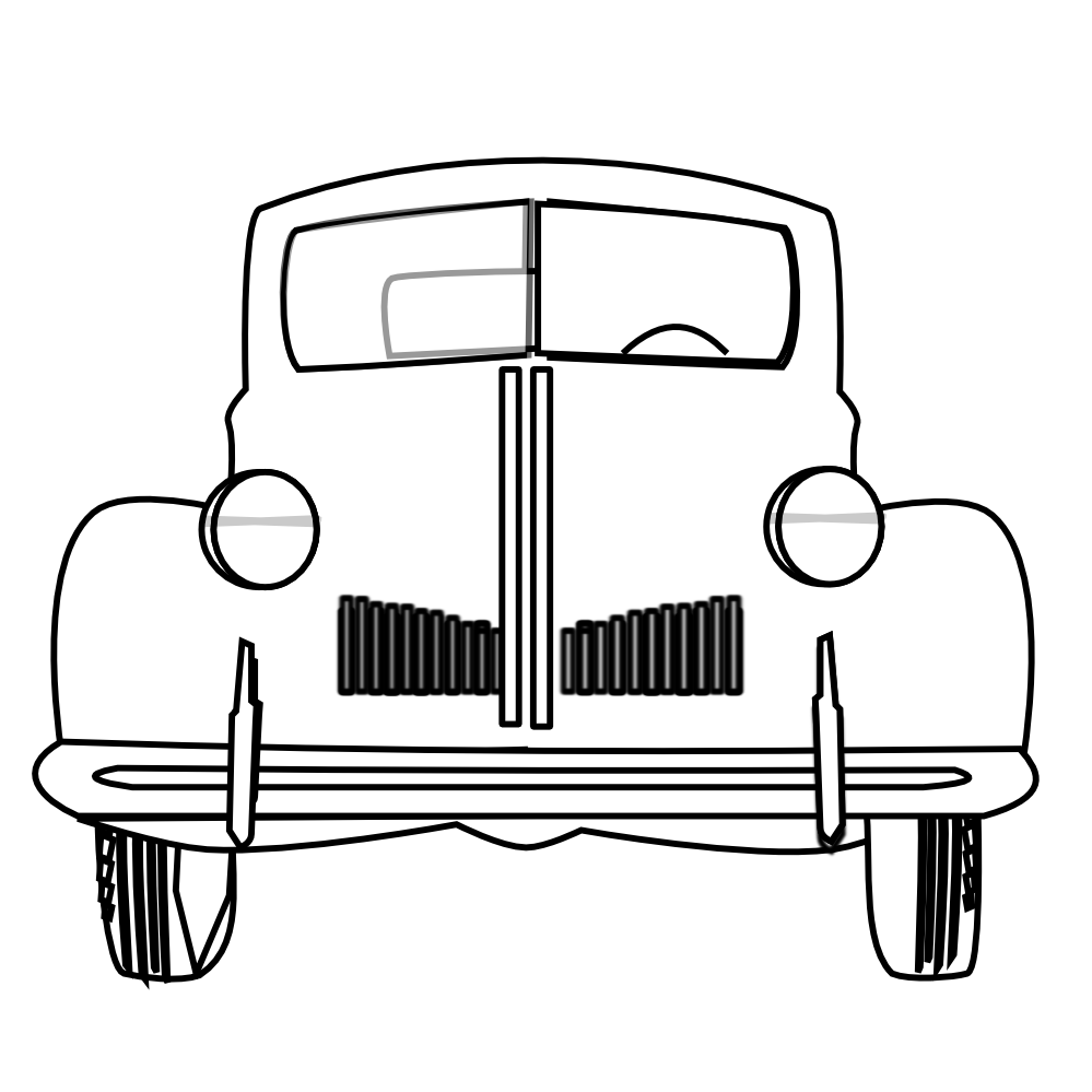Black And White Classic Car Clipart.