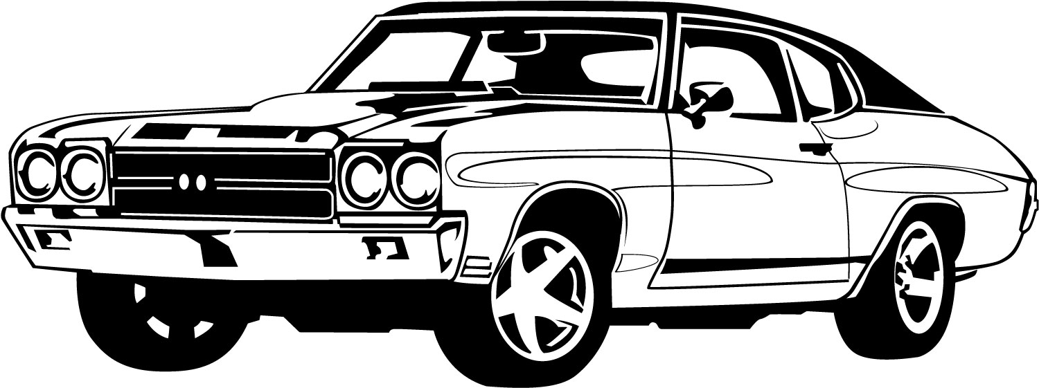 classic car black and white clipart #3