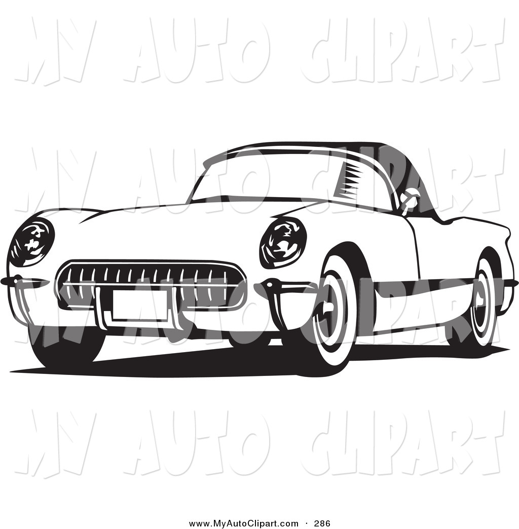 classic car black and white clipart #18