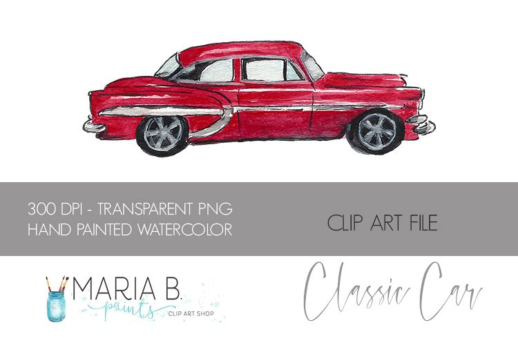 Red Classic Car Watercolor Clipart File PNG.