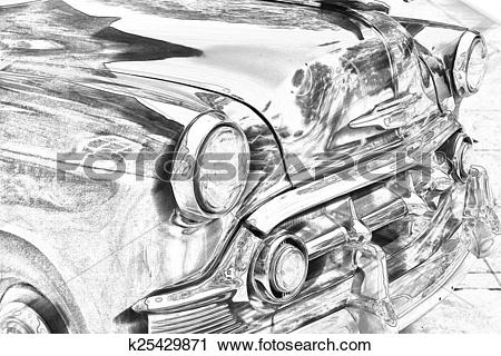 Clipart of Sketch of classic, vintage car grill k25429871.