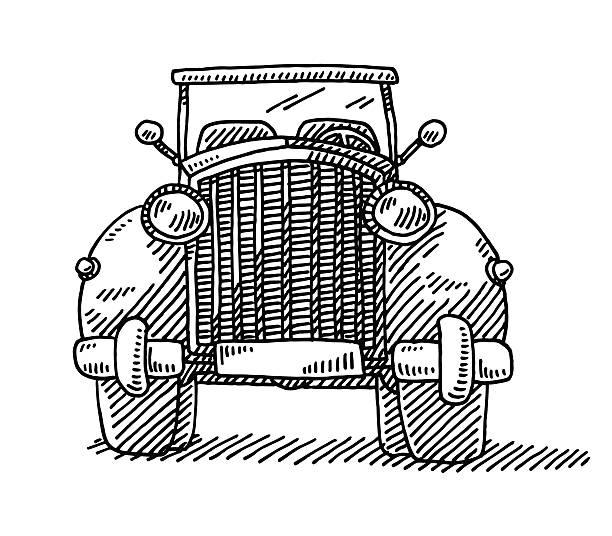 Clip Art Of Classic Car Front Grill Clip Art, Vector Images.