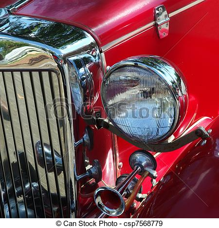 Stock Photographs of ANTIQUE CAR LIGHT AND GRILL.