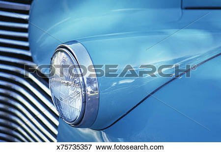 Picture of Blue classic car grill and headlight NPR x75735357.