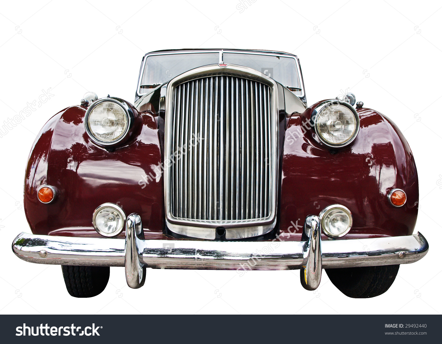 Vintage Car Front View Isolated Over Stock Photo 29492440.