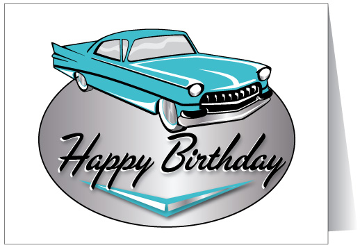 Classic Car Happy Birthday Free Clipart.