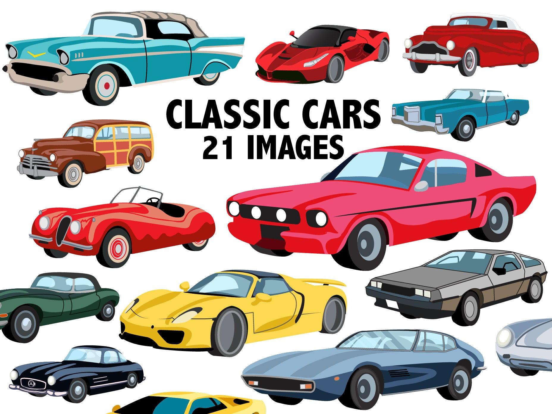Classic Cars Clipart Bundle.