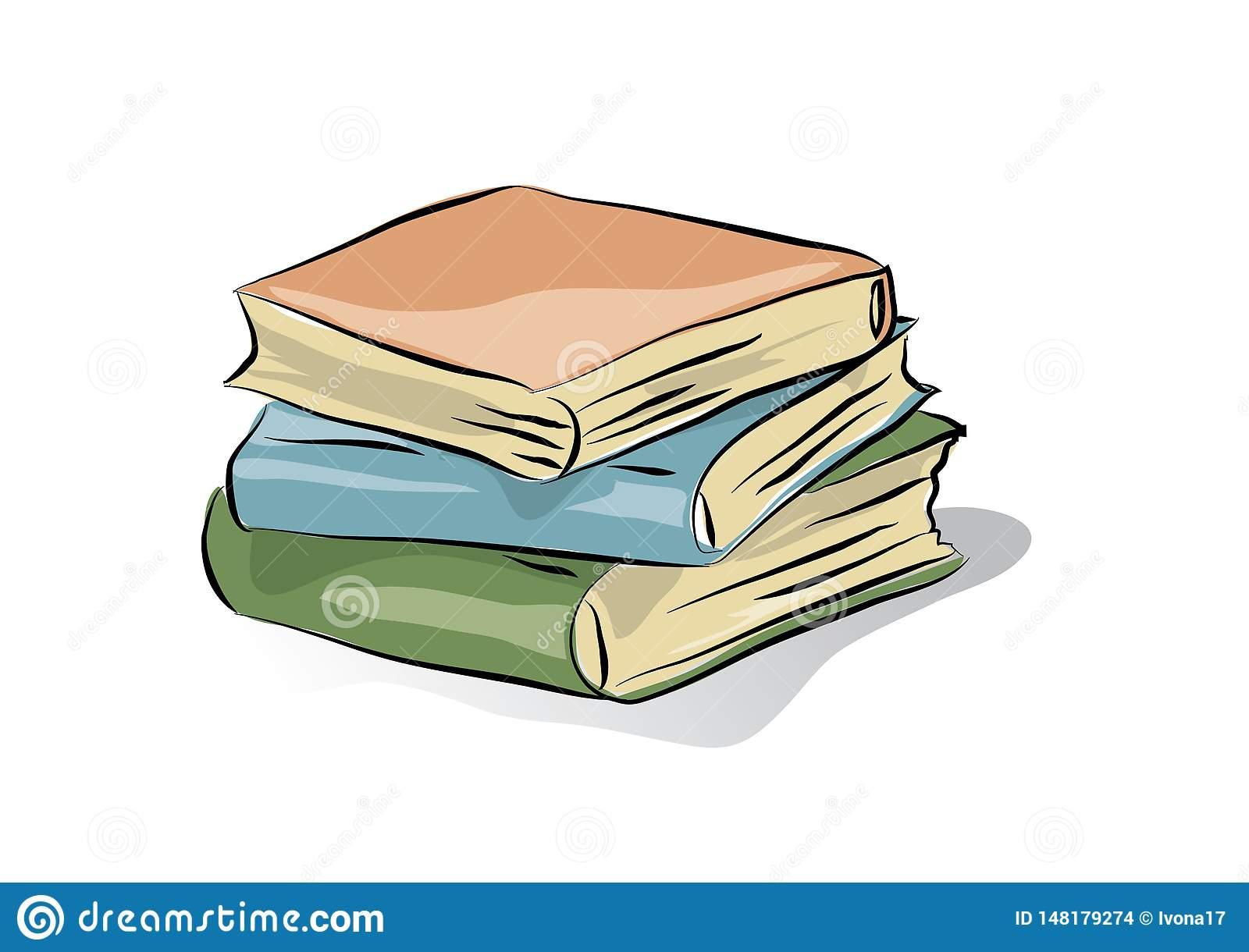 Classic Three Books, Vector Clip.