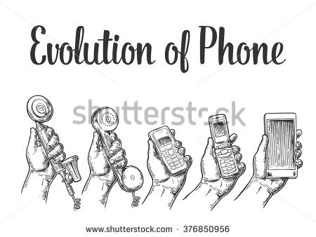 Evolution Communication Devices Classic Modern Mobile Stock Vector.