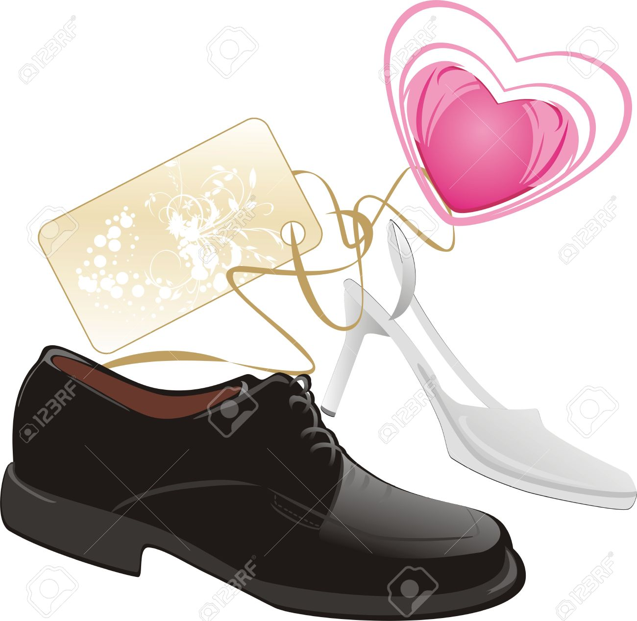 Modern Classic Shoes For Wedding. Vector Royalty Free Cliparts.