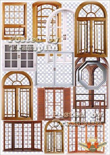 Wooden windows design png clipart format.