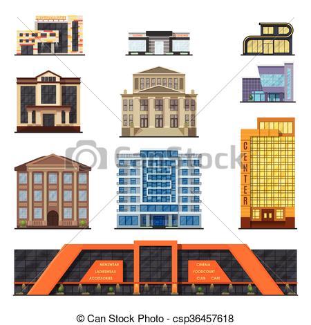 Vector Clip Art of Flat style modern classic municipal buildings.