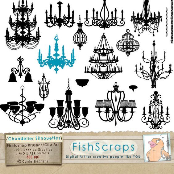 Chandelier Clip Art, PNG Silhouettes & Photoshop Brushes.