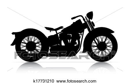 Silhouette of classic motorcycle Clipart.