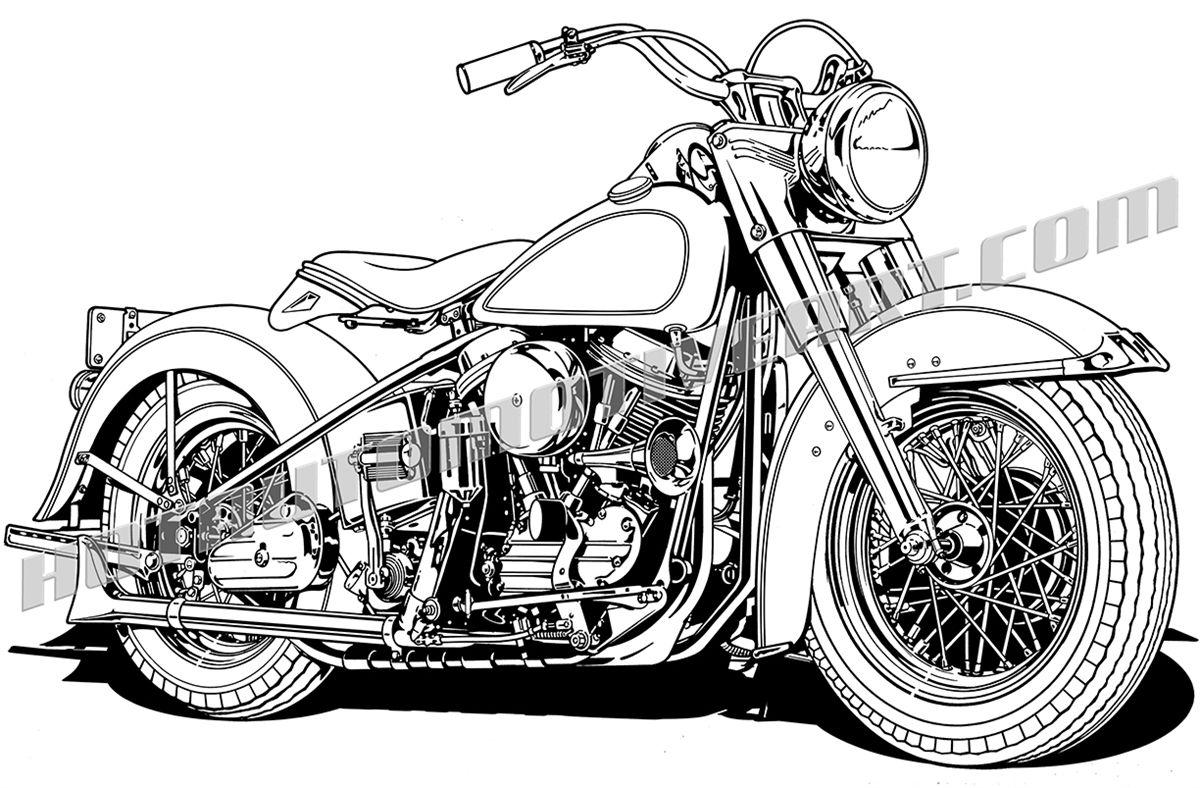 Vintage Motorcycle 3/4 view.