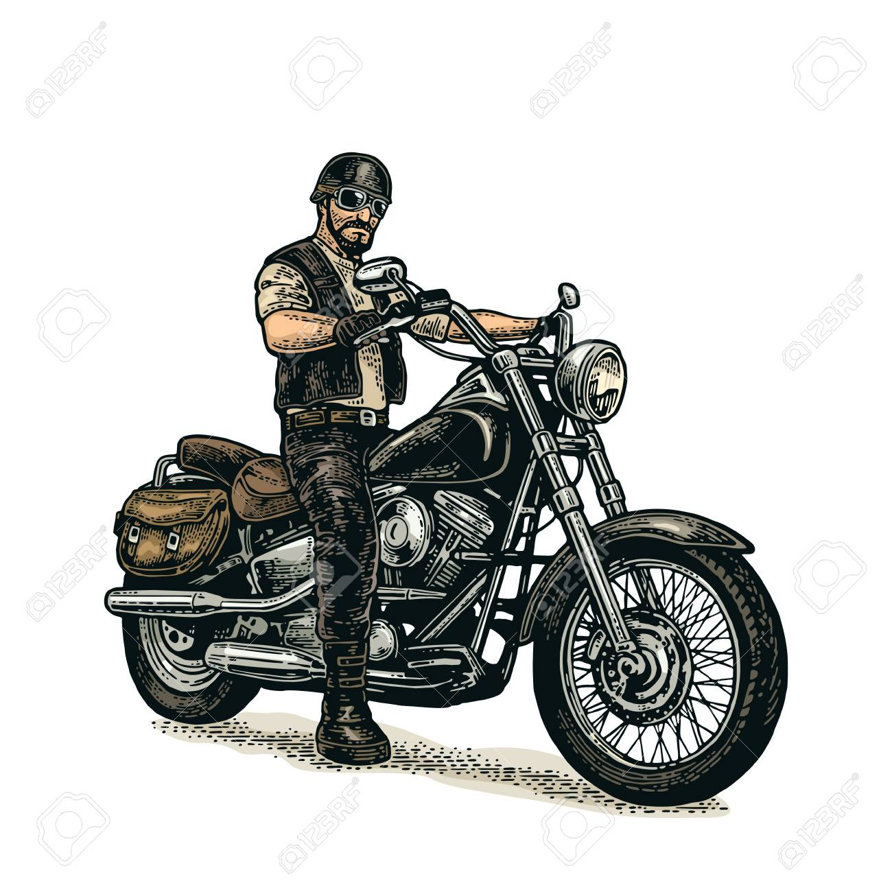 Man in a classic motorcycle with helmet and glasses..