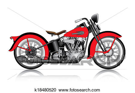 Red classic motorcycle Clipart.