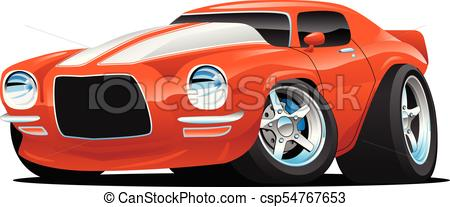 Classic Muscle Car Cartoon Illustration.