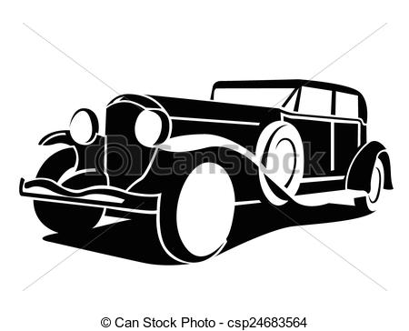 classic car black and white clipart #11