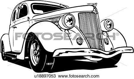 Clipart of illustration, lineart, classic, car, auto, automobile.