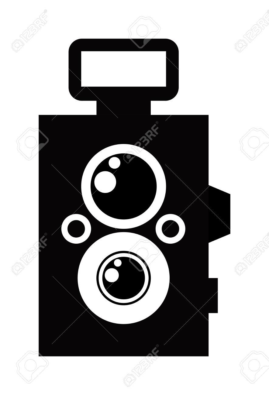 Black Photo Camera Digital Film Photo Camera Icon. Flat Photo.
