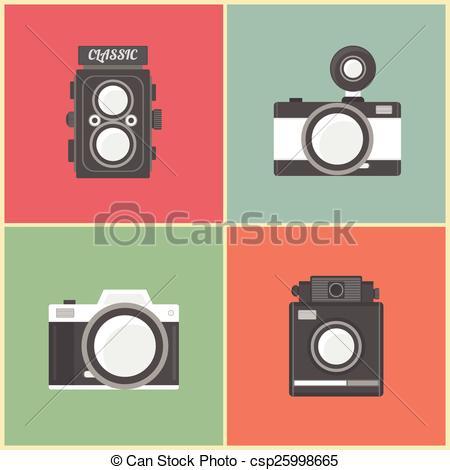 Clip Art Vector of retro camera.