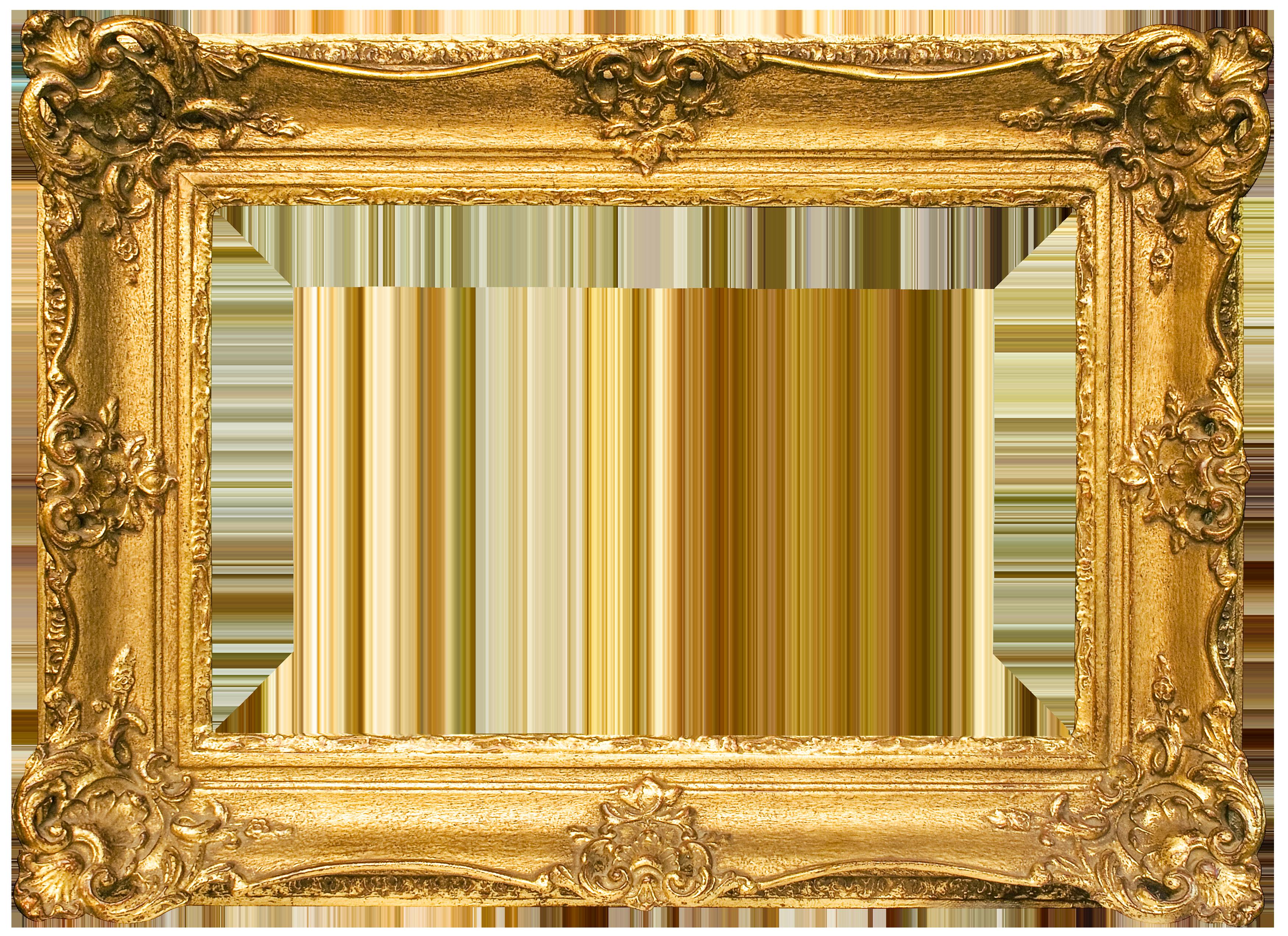 Classic Gold Frame Transparent PNG Image.