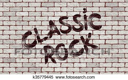 Inscription classic rock on the wall Clipart.