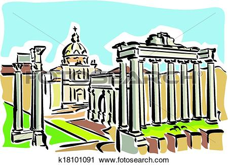 Clipart of Rome (ancient Roman Forum) k18101091.