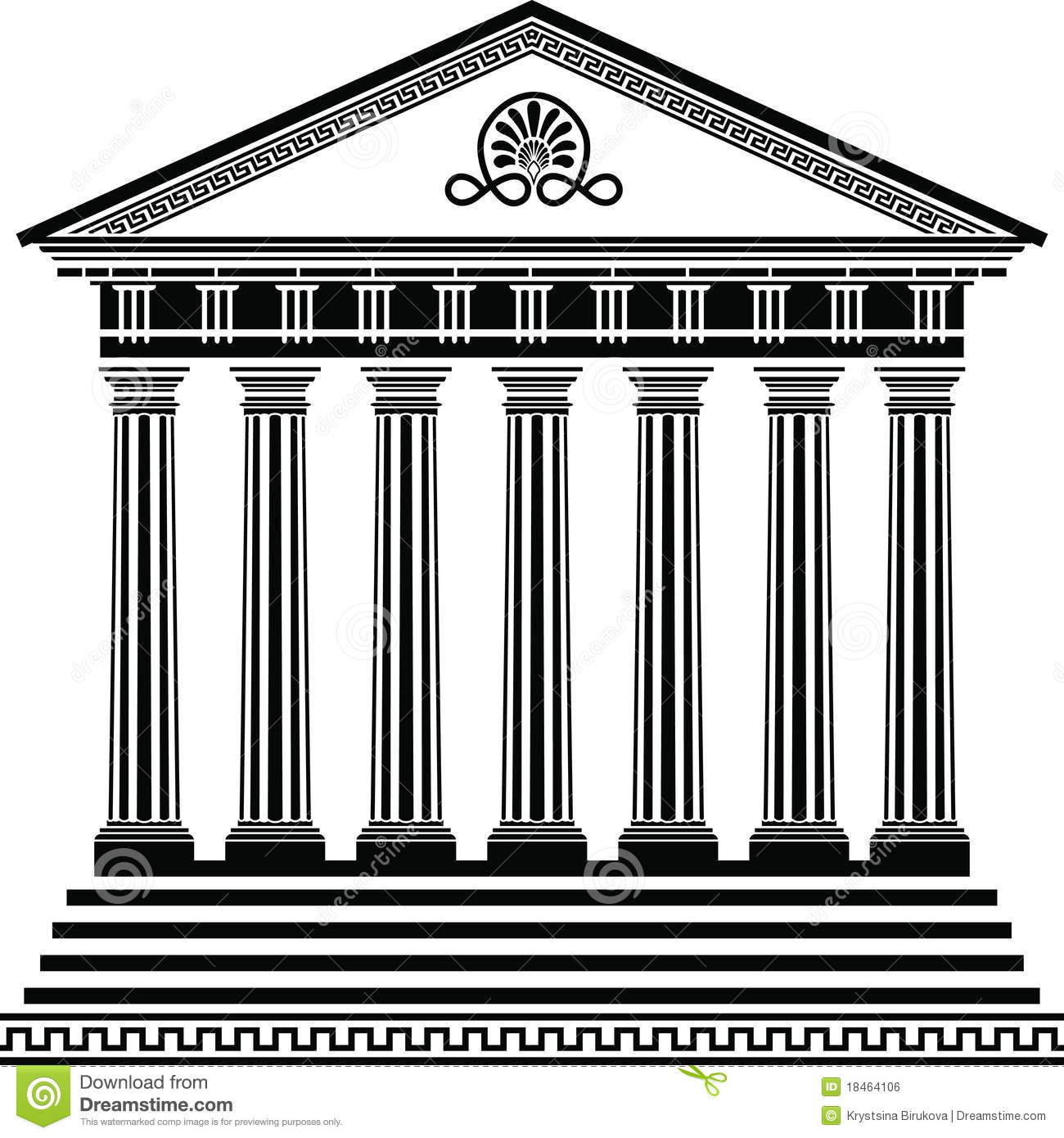 Greek Temple Stencil Second Variant Royalty Free Stock Image.
