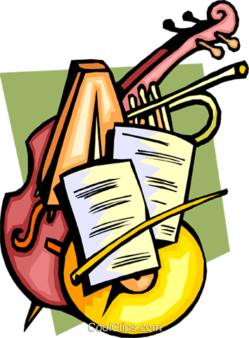 Classical music with instruments Royalty Free Vector Clip Art.