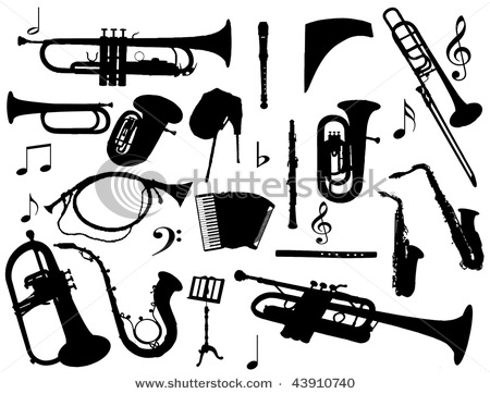 Classical music clipart silhouette.