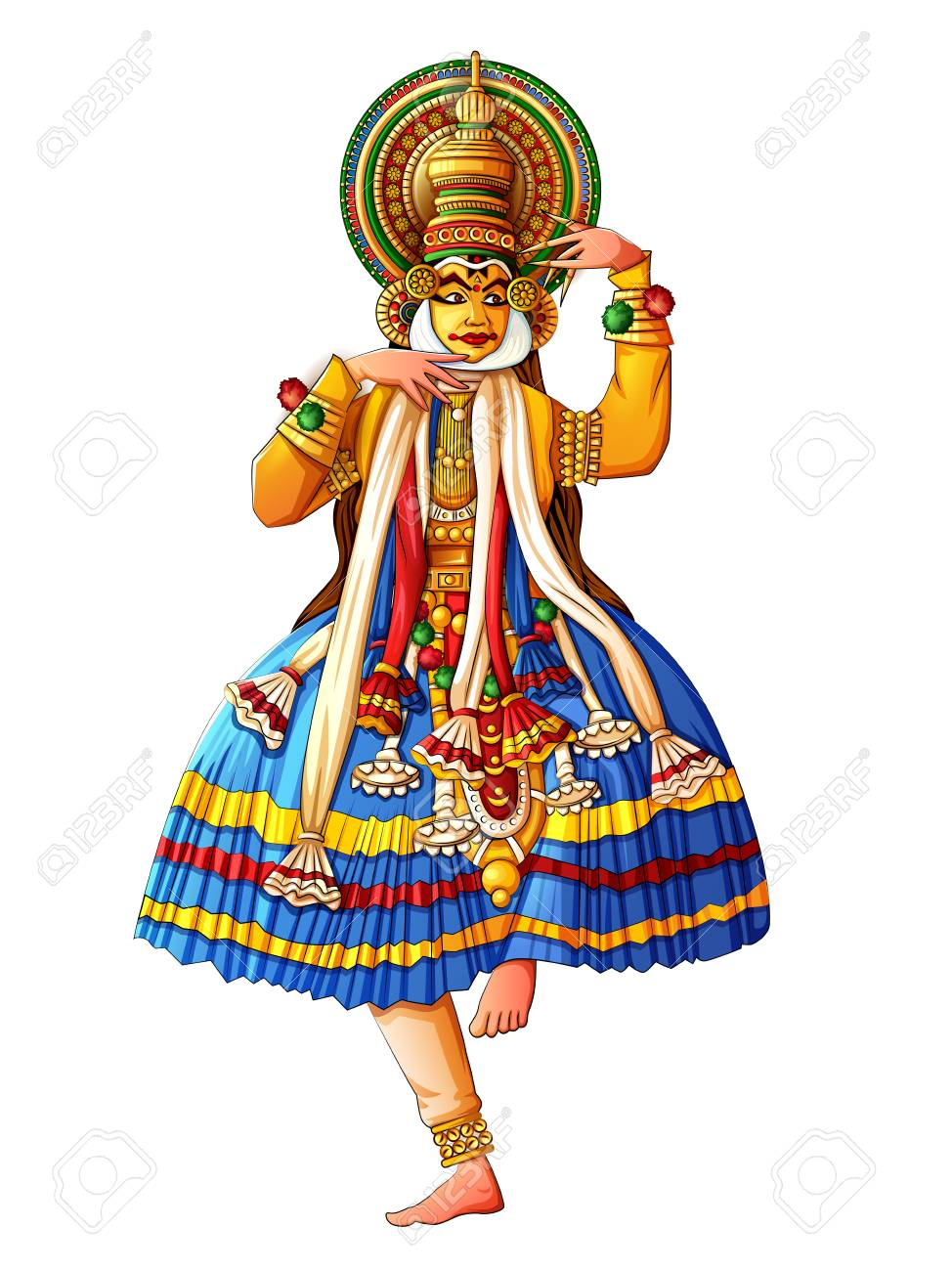 Man performing Kathakali classical dance of Kerala, India.