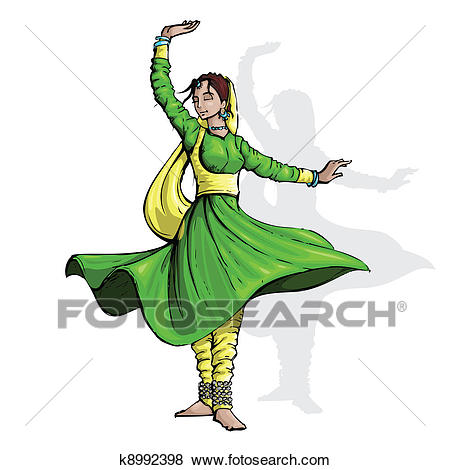 Indian Classical Dancer Clip Art.