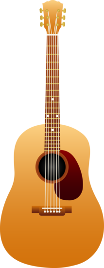Free clip art of a wooden classical acoustic guitar.