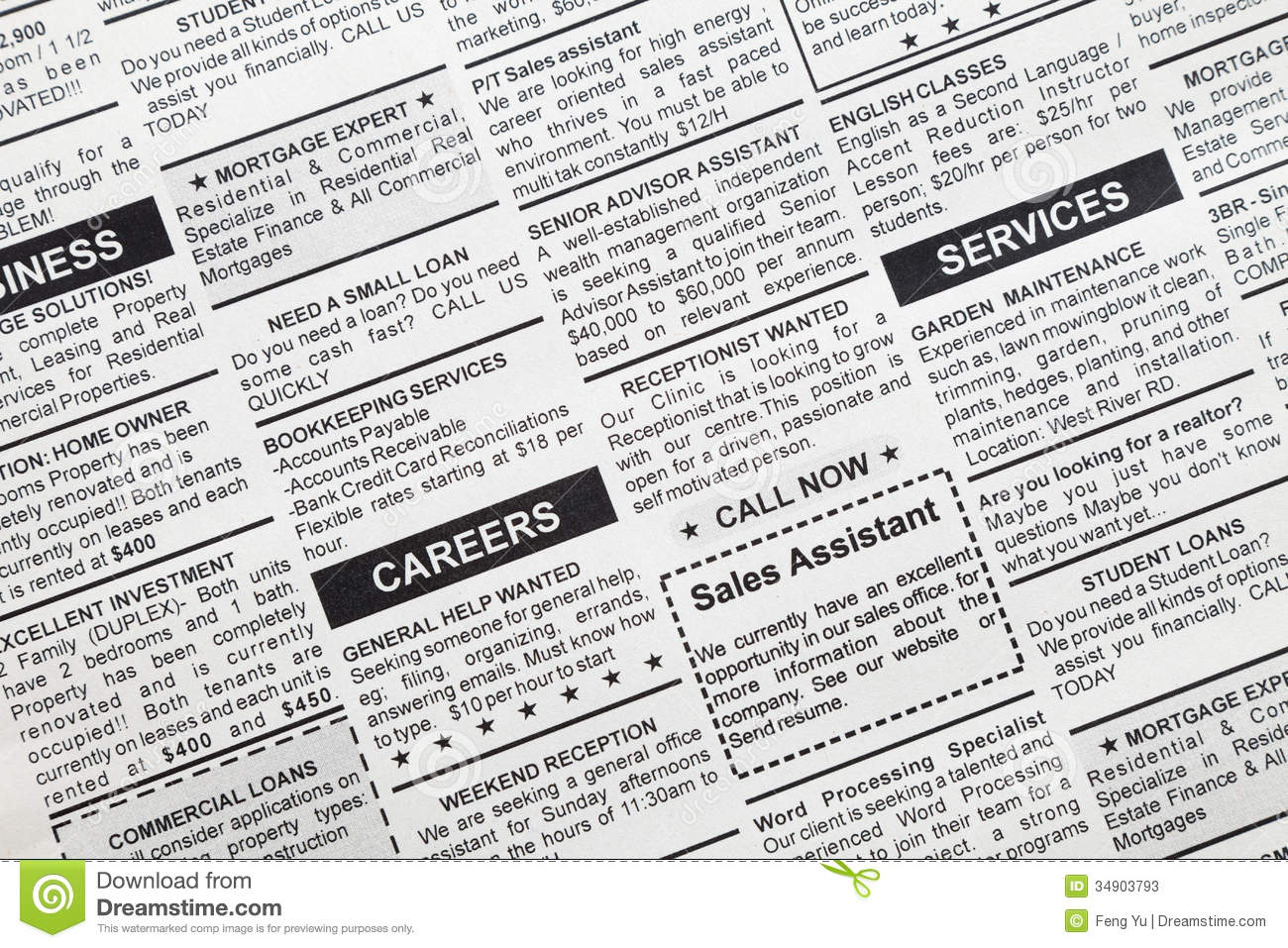 Classified Ad stock image. Image of fake, word, backgrounds.
