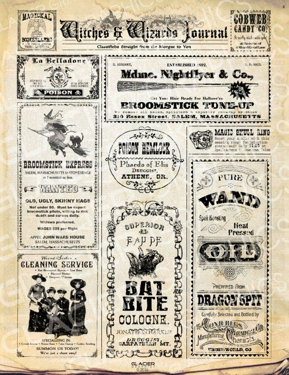 Halloween Witch Newspaper Classified Ads Halloween Newpaper.